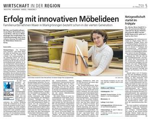 Erfolg mit innovativen Möbeln, Bietigheimer Zeitung
