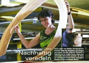 Sarah Maier als gern genutztes Testimonial für den Verband Holz und Furnier hier im Titel des aktuellen Arcade Artikels.
